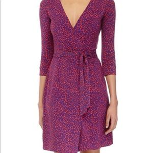 DVF wrap dress in red and purple leopard print